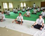 Various yogasan performed by officers and staff